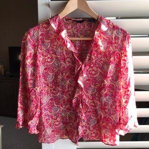 Express silk crop top blouse.